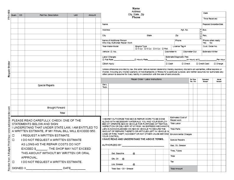 Free Printable Repair Order Template