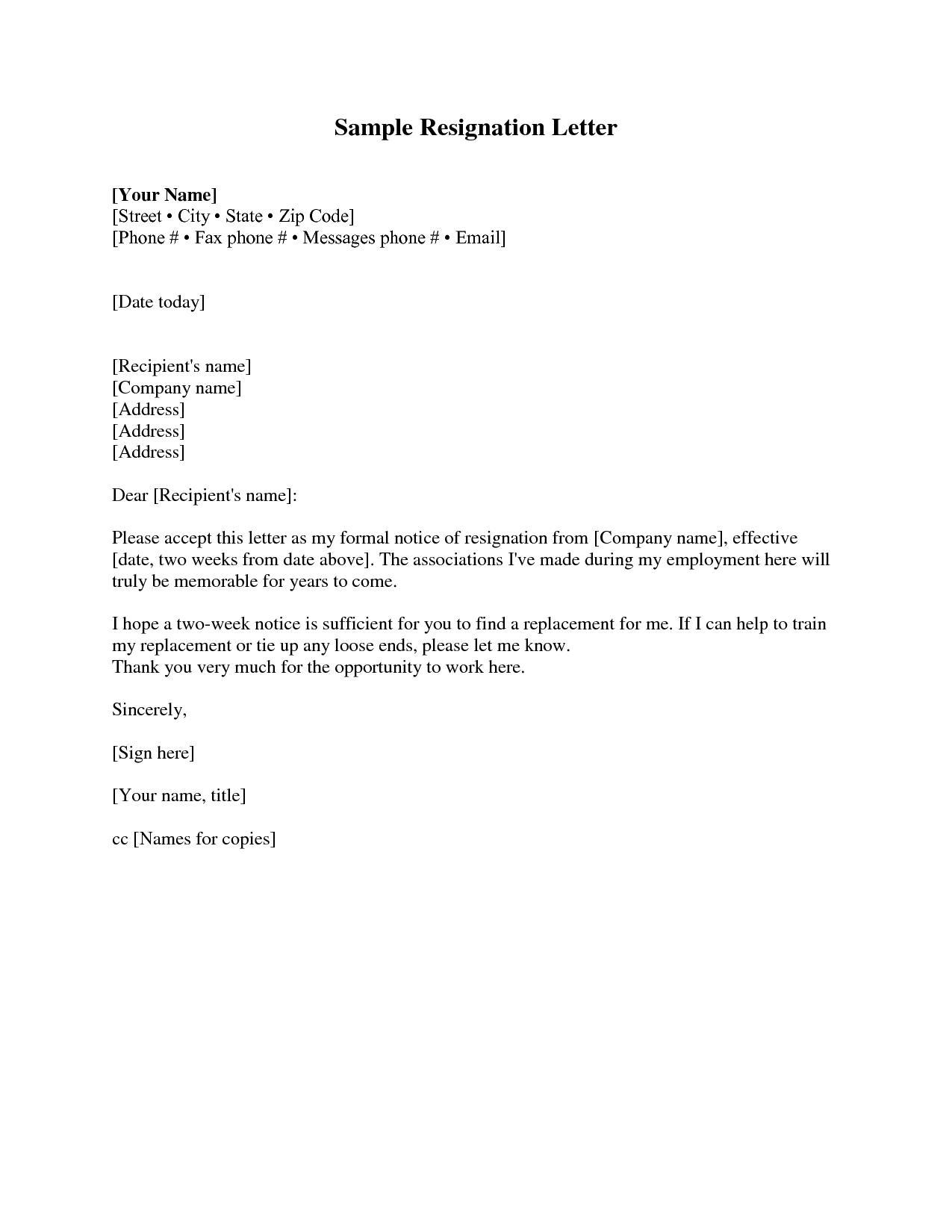 Free Printable Resignation Letter Template