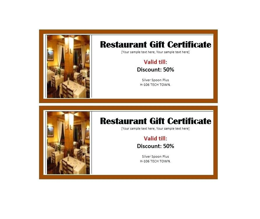 Free Printable Restaurant Gift Certificates Templates