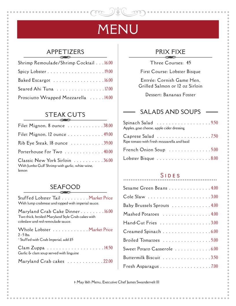 Free Printable Restaurant Menu Templates