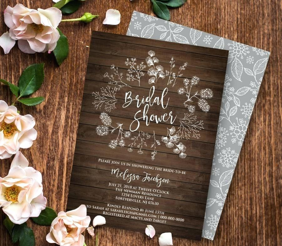 Free Printable Rustic Bridal Shower Invitation Templates