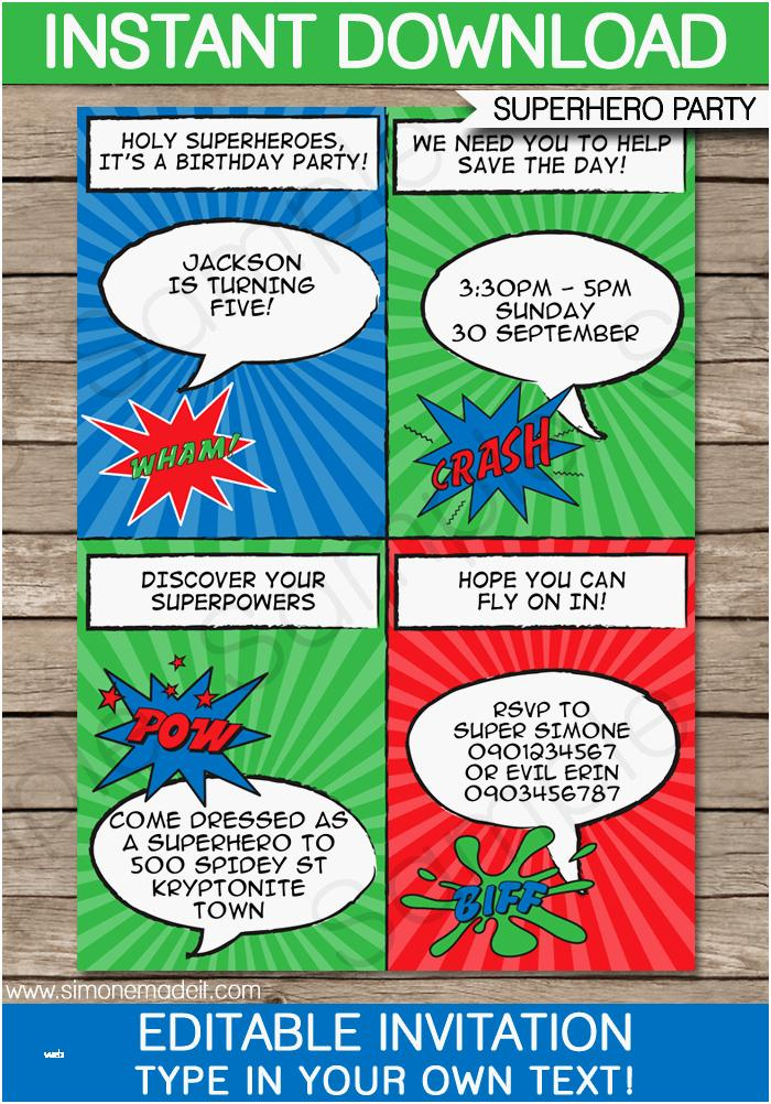 Free Printable Superhero Birthday Invitation Templates