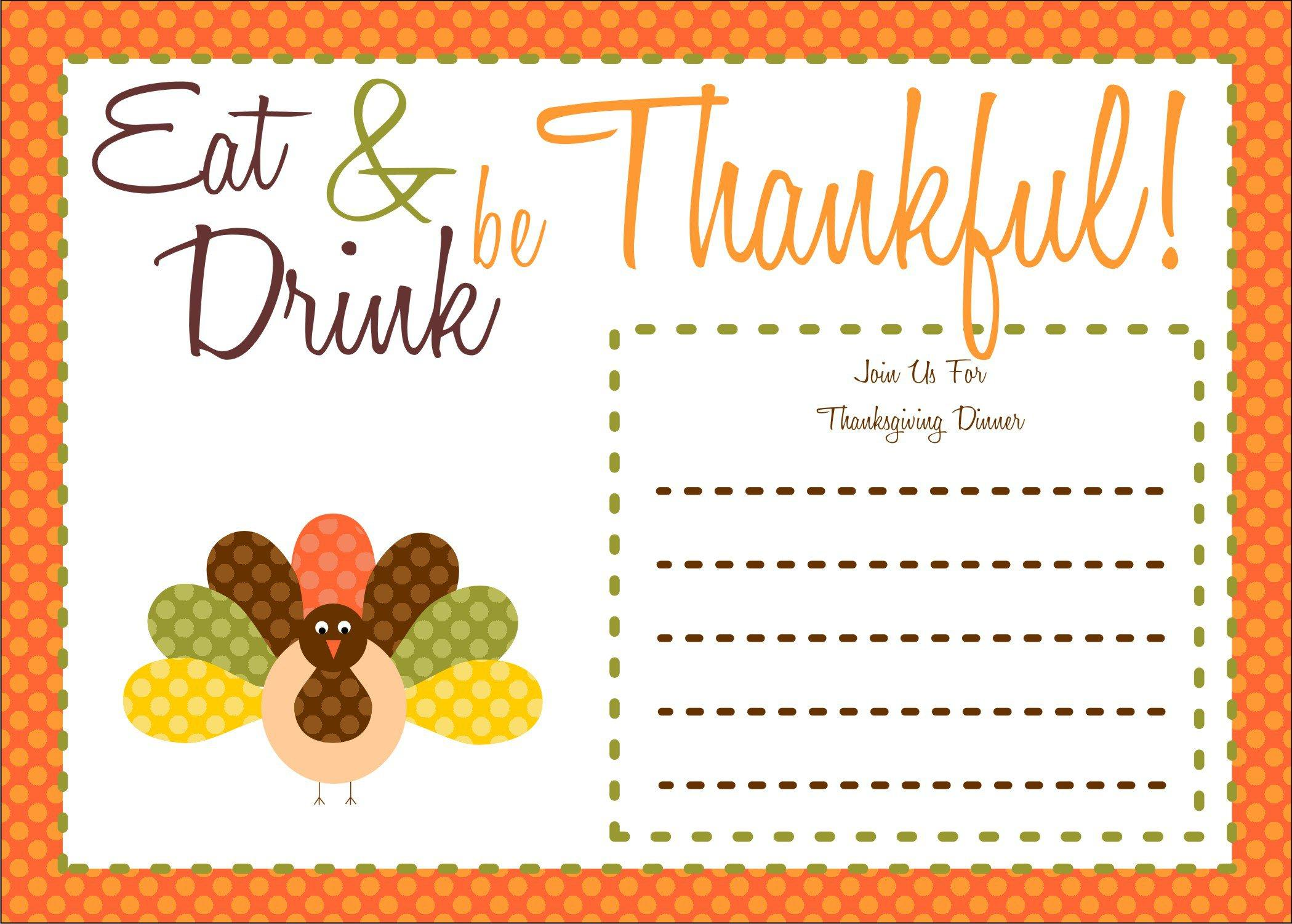 Free Printable Thanksgiving Dinner Invitation Templates