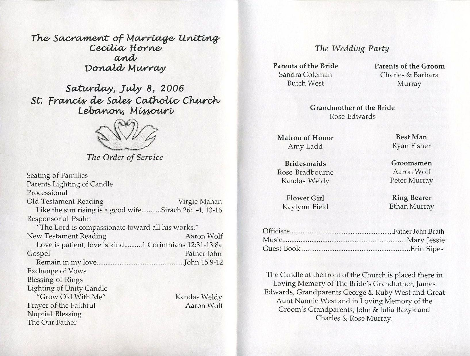 Free Printable Wedding Reception Program Templates