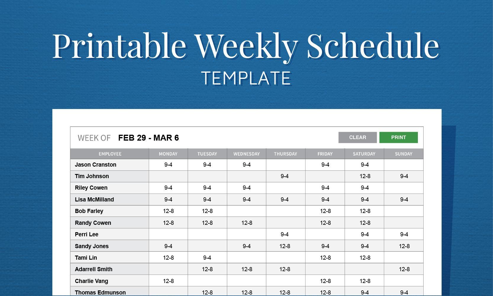 Free Printable Weekly Work Schedule Template