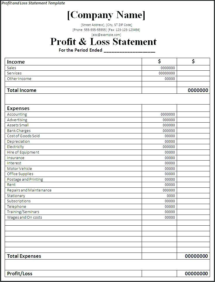Free Profit And Loss Template For Small Business