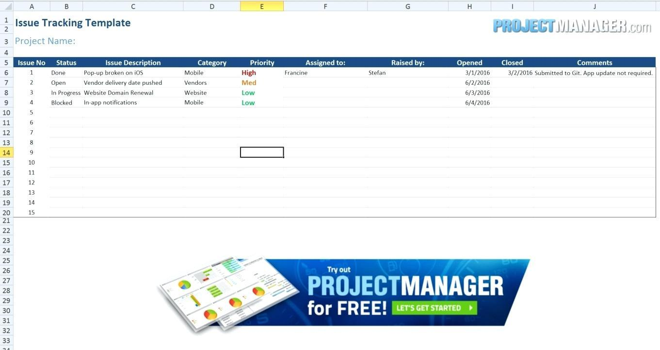Free Project Management Tracking Template Excel