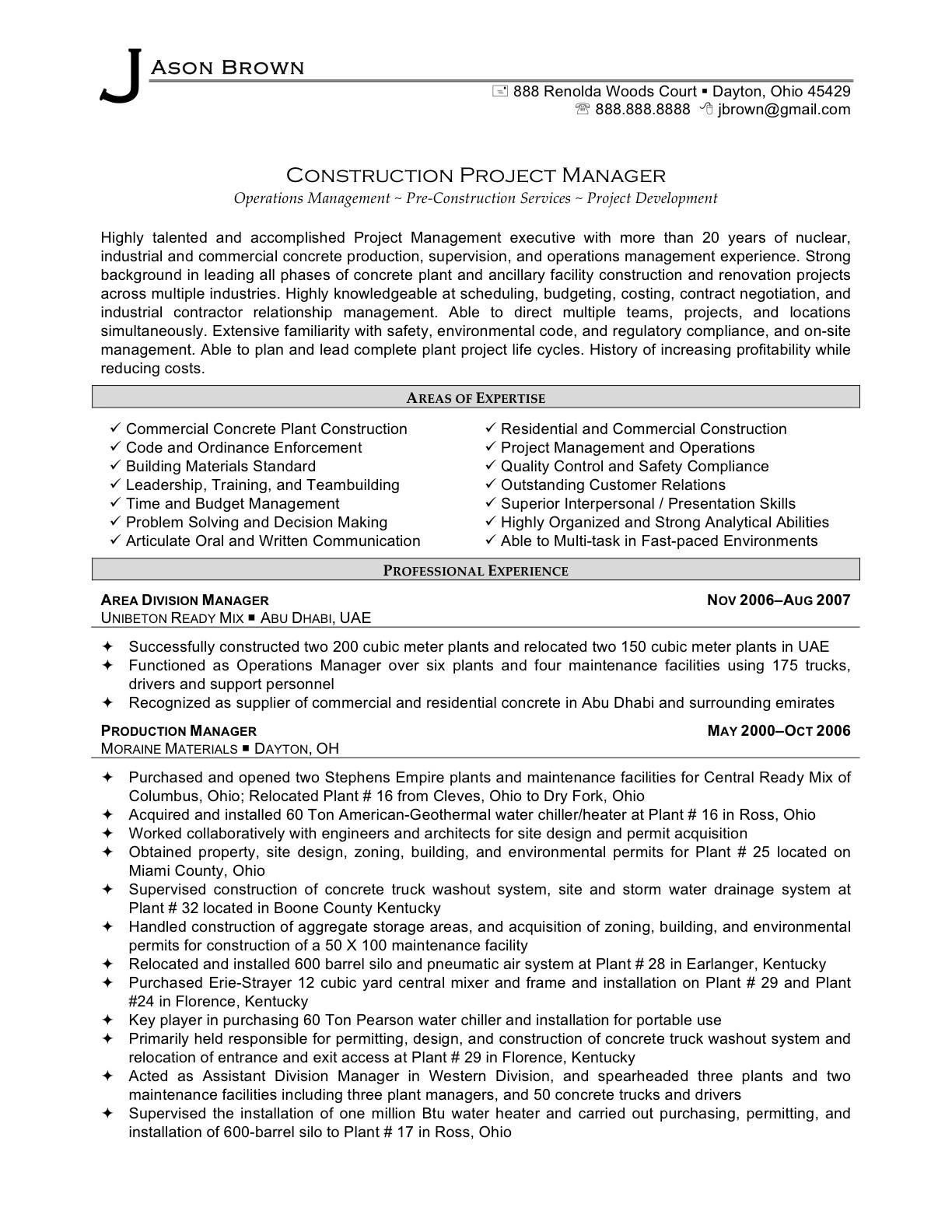 Free Project Manager Resume Template Microsoft Word