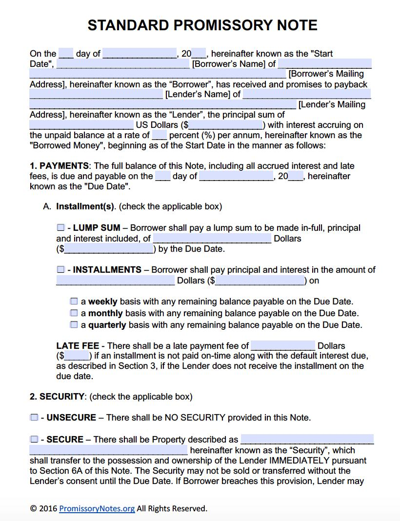 Free Promissory Note Template Pdf