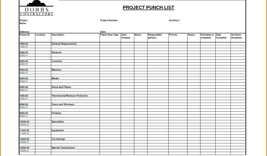 Free Punch List Template