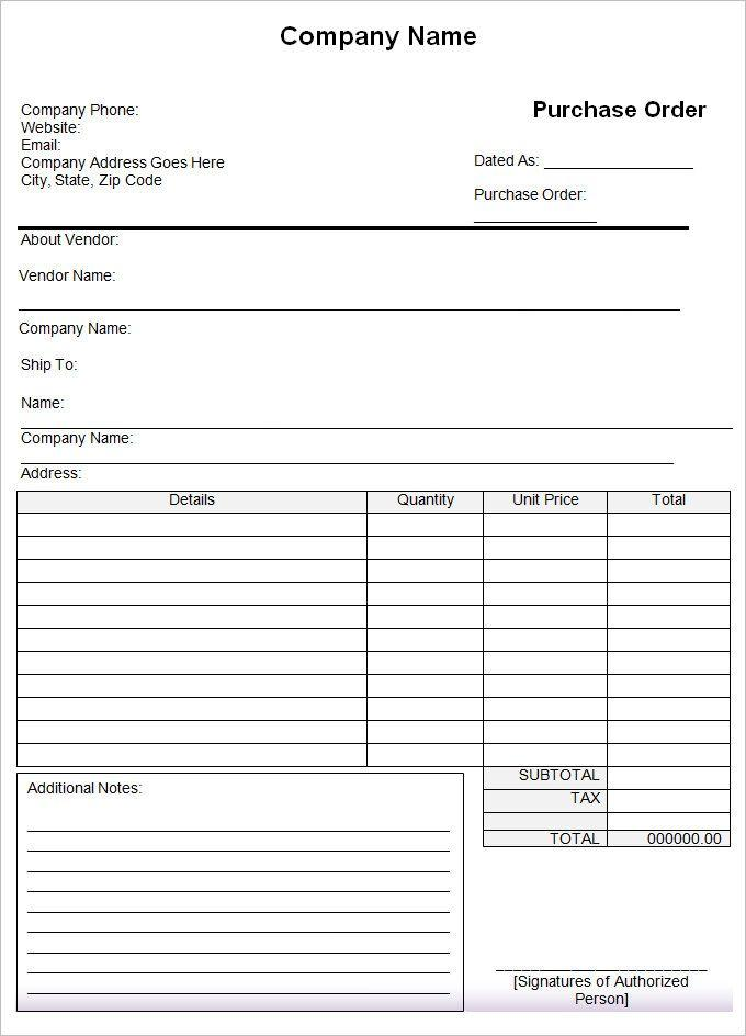 Free Purchase Order Template Excel Download