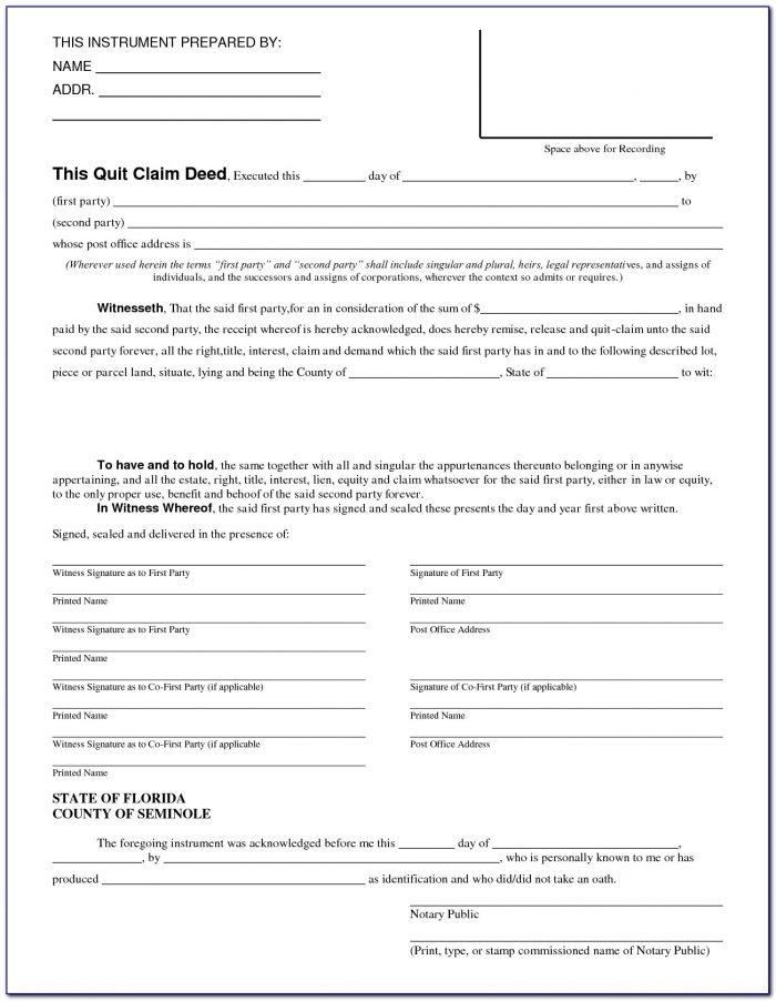 Free Quit Claim Deed Form Osceola County Florida