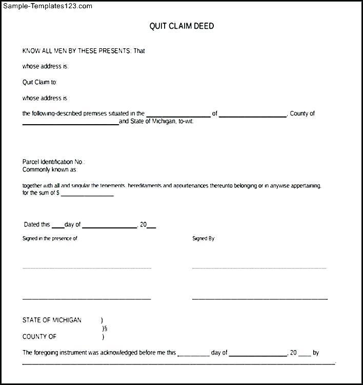 Free Quit Claim Deed Form Uk