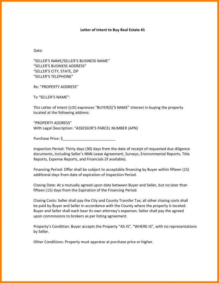 Free Real Estate Letter Of Intent Template