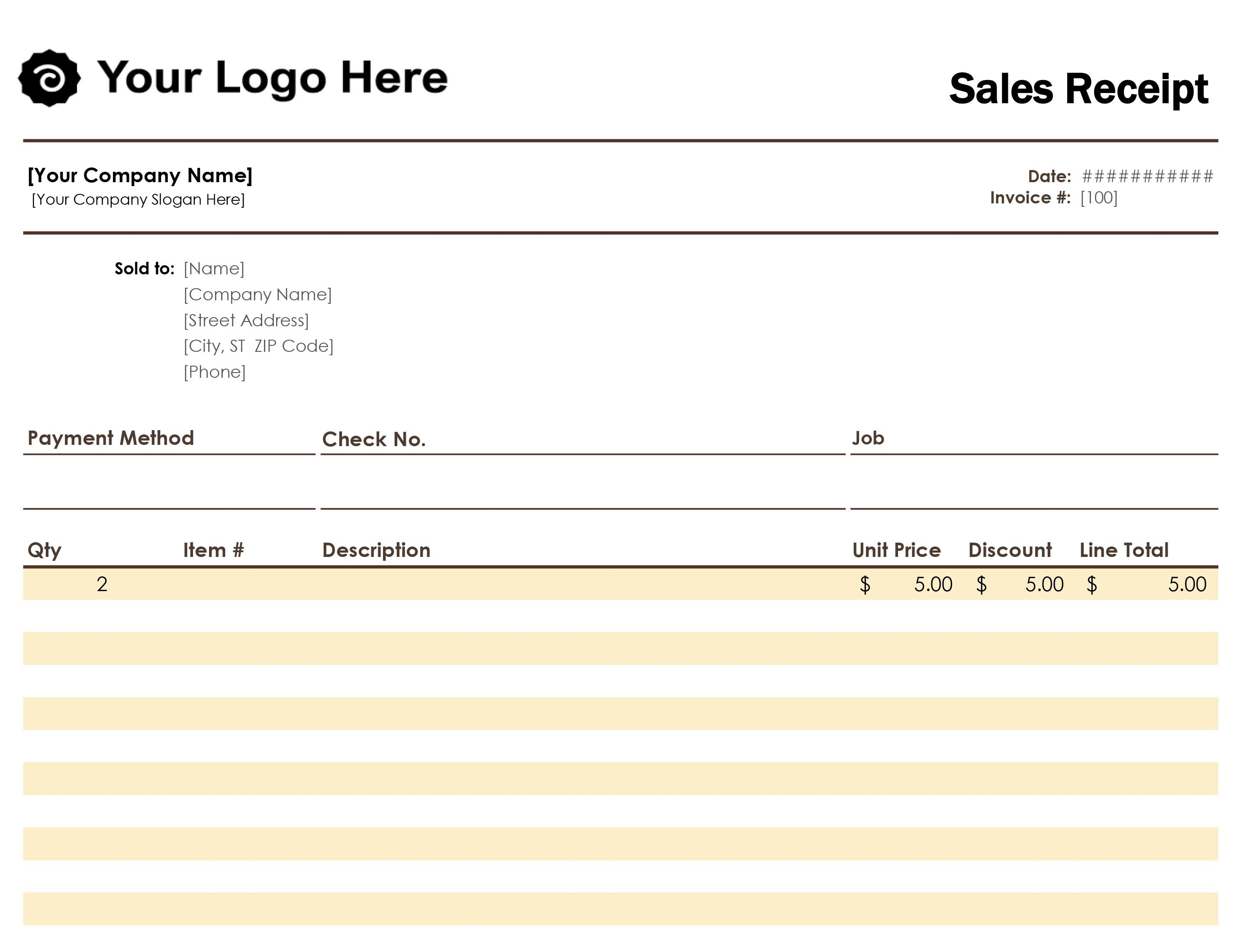 Free Receipt Book Template Excel
