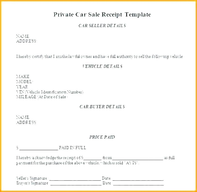 Free Receipt Template For Car Sale