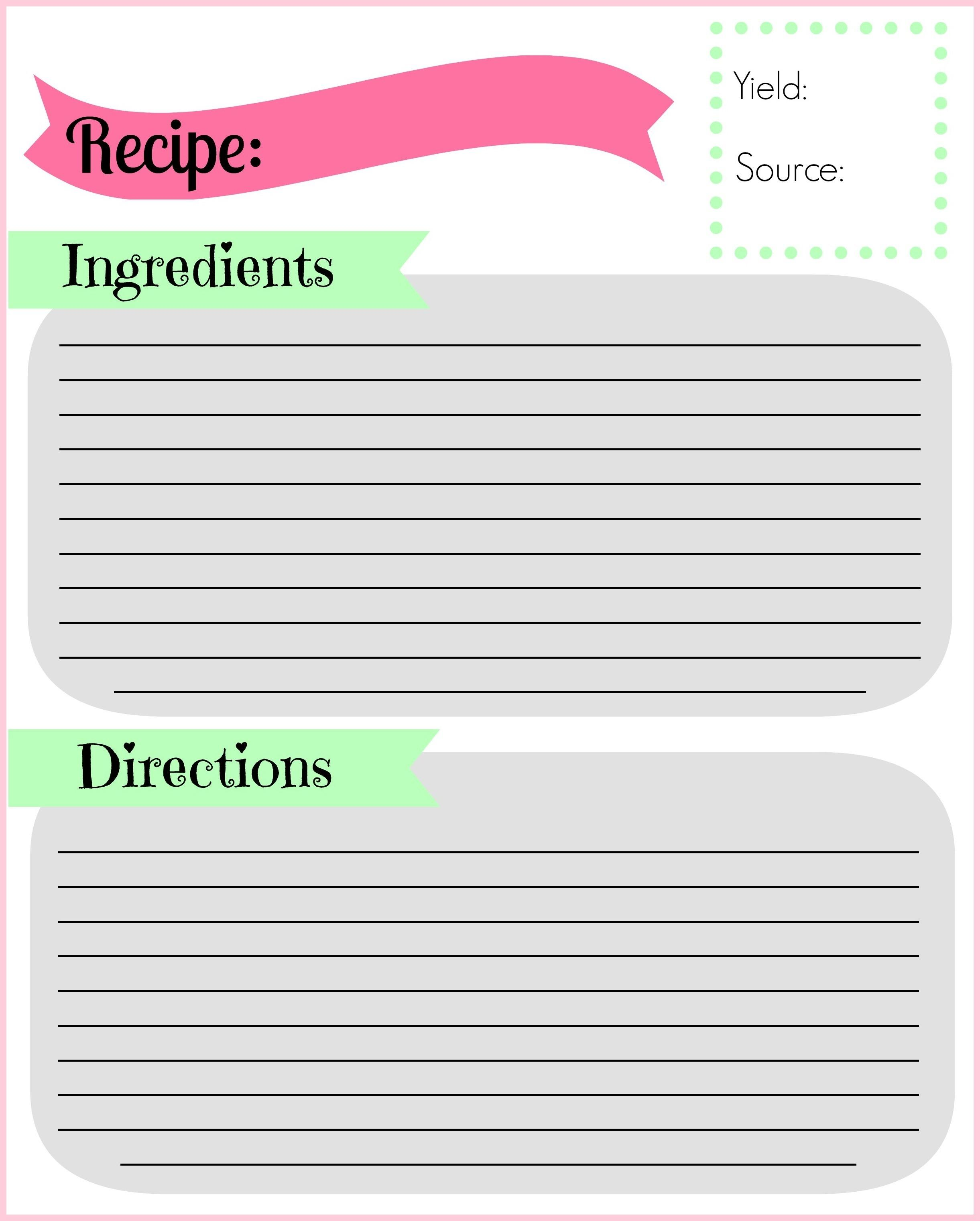 Free Recipe Templates Binder Size