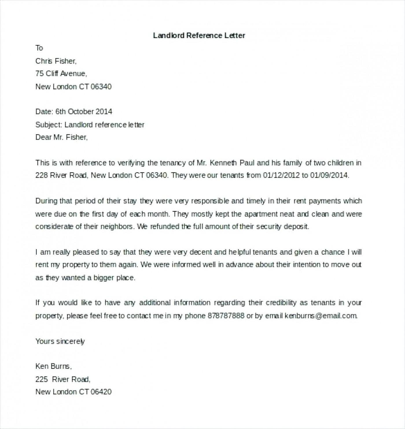 Free Reference Letter Template For Landlord
