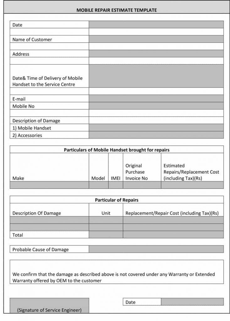 Free Remodeling Estimate Template