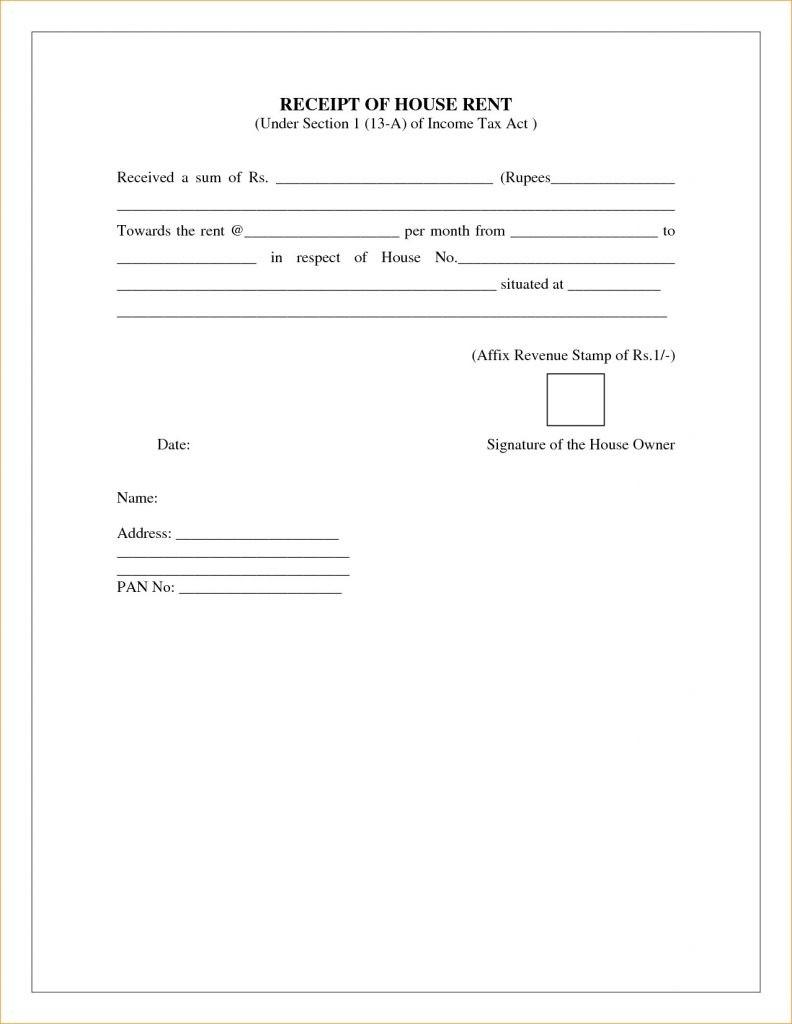 Free Rent Receipt Template Pdf India