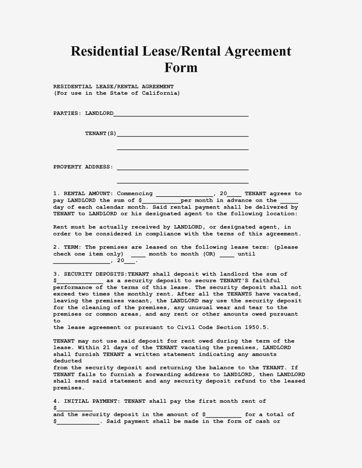 Free Rental Agreement Template California