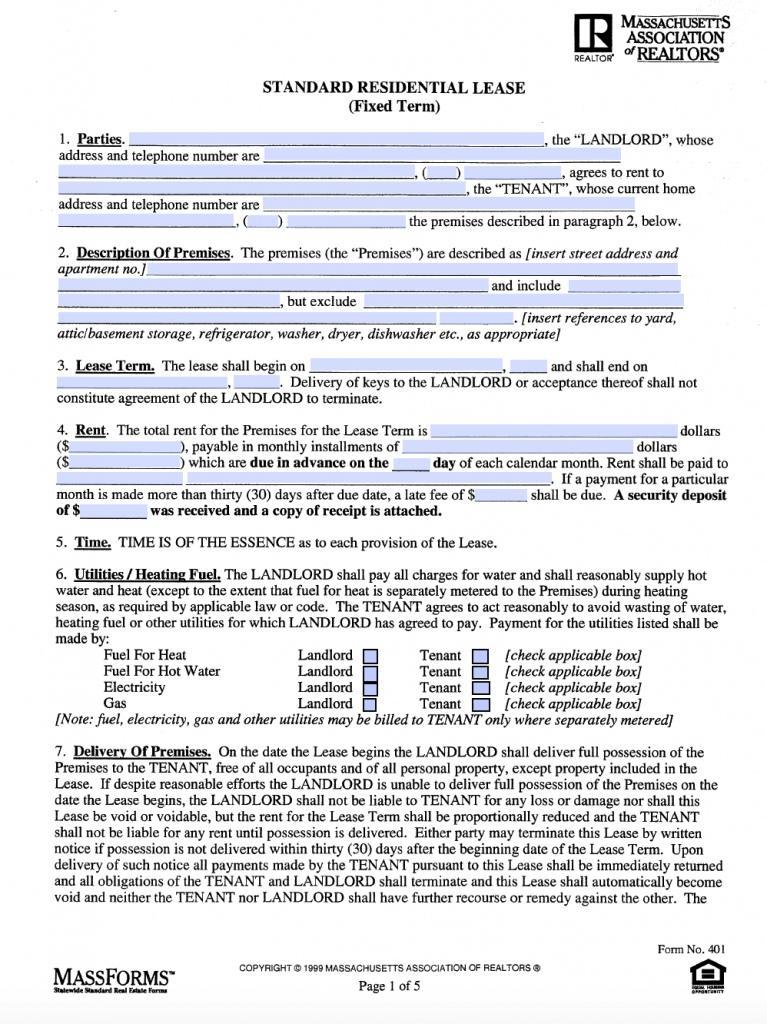 Free Rental Agreement Template Massachusetts