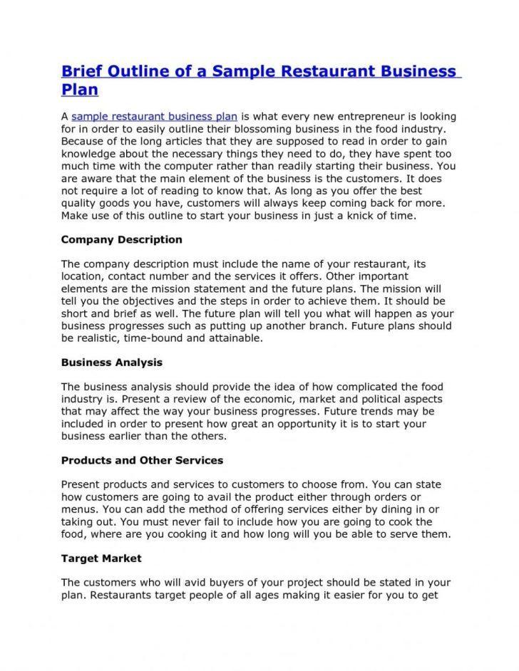 Free Restaurant Business Plan Template Pdf
