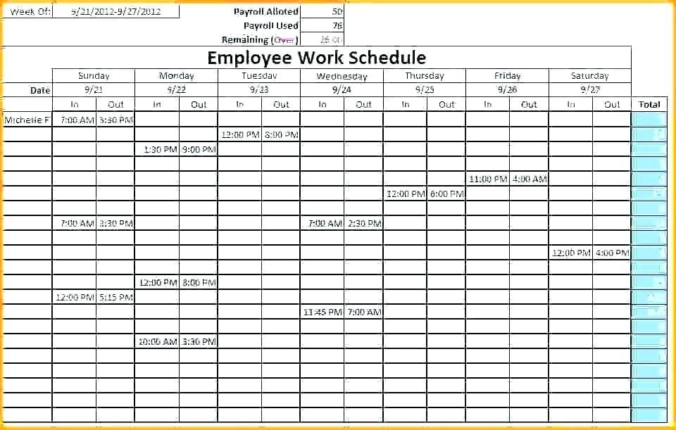 Free Restaurant Labor Schedule Template