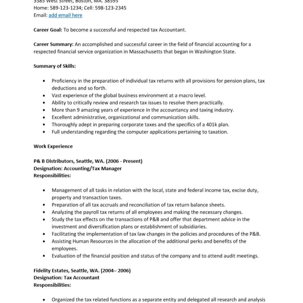 Free Resume Template Accountant