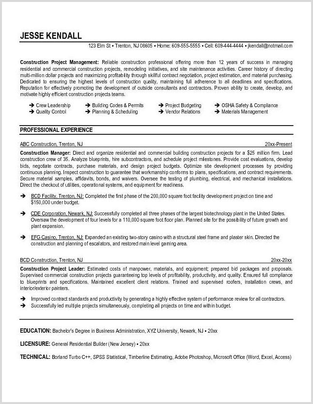 Free Resume Templates Construction