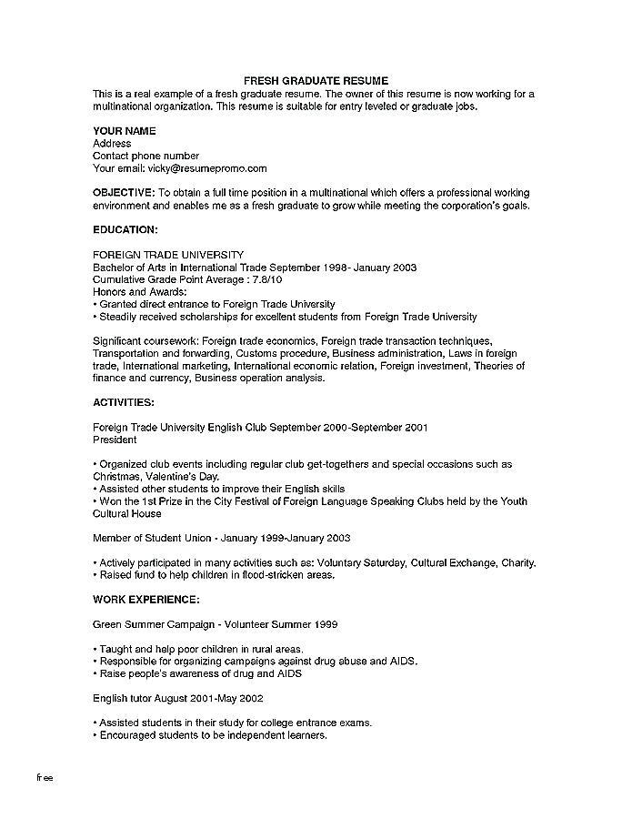 Free Resume Templates For Recent College Graduates