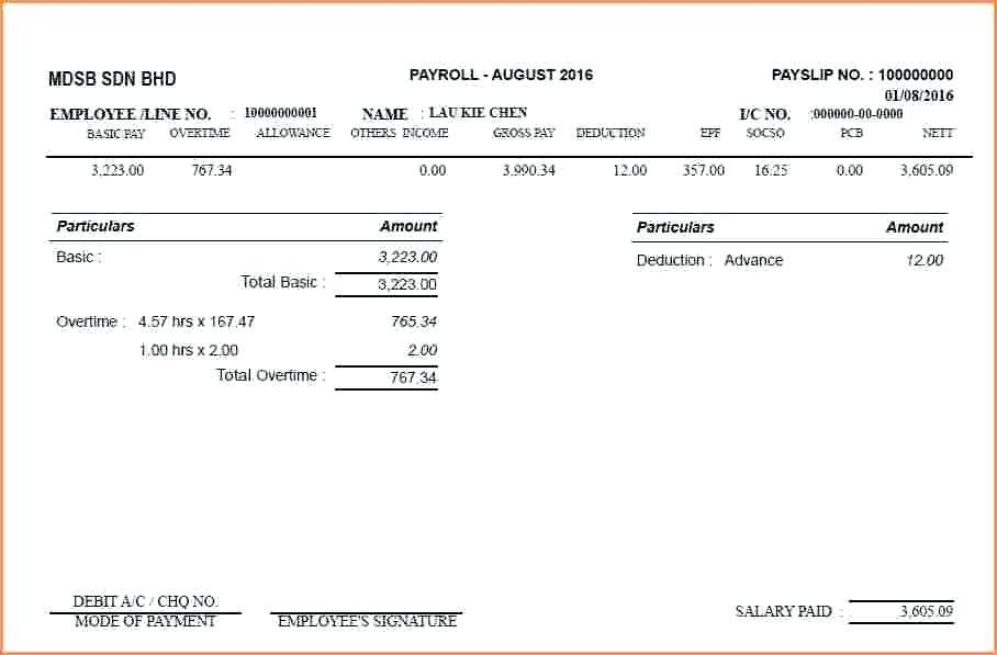 Free Salary Slip Template