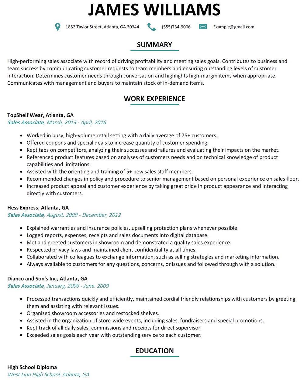 Free Sales Associate Resume Templates