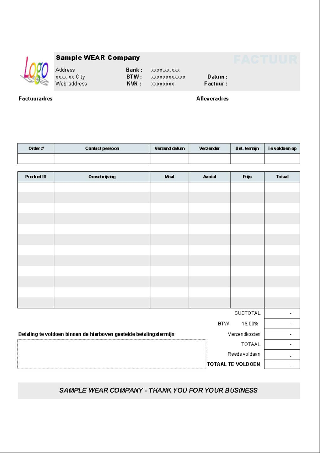 Free Sales Invoice Template South Africa
