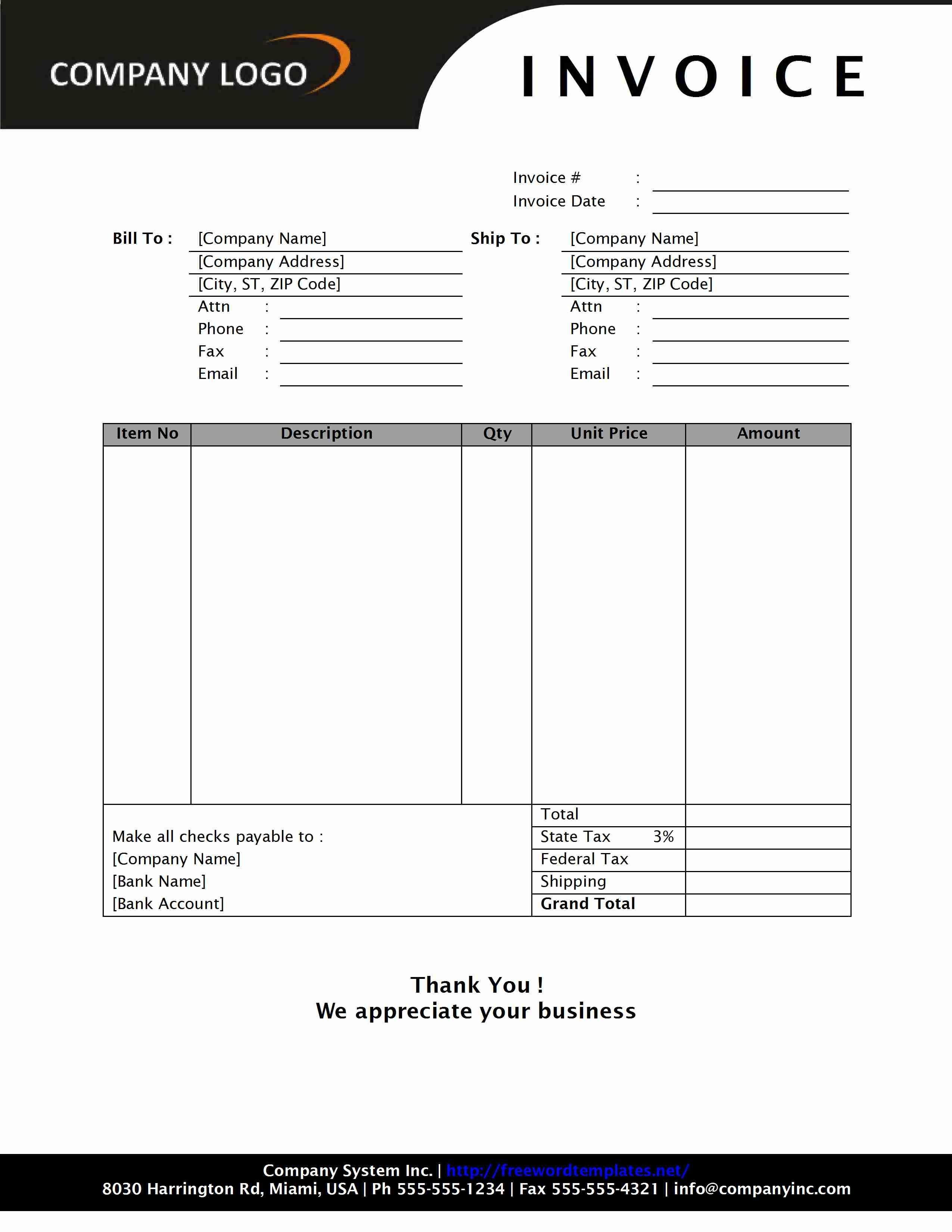 Free Sales Invoice Templates