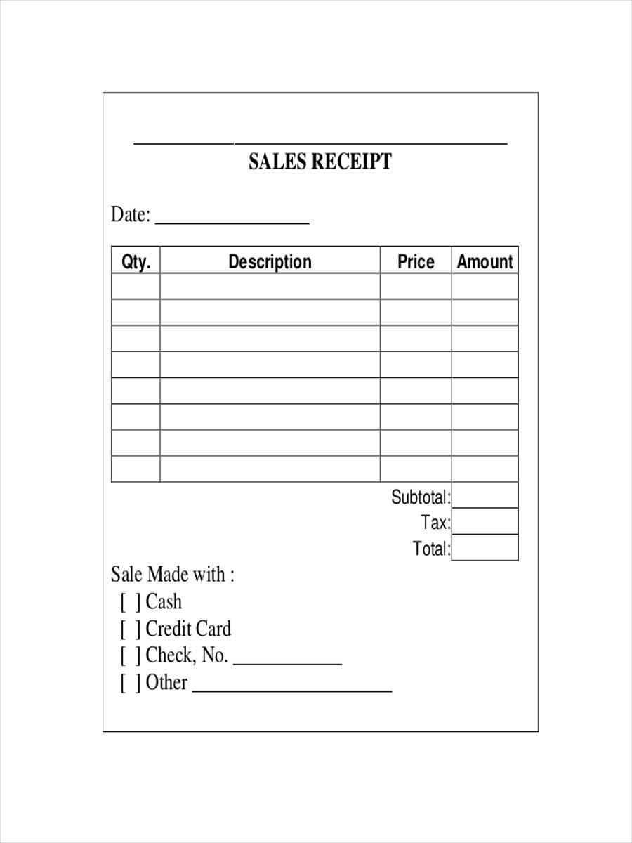 Free Sales Receipt Template Pdf