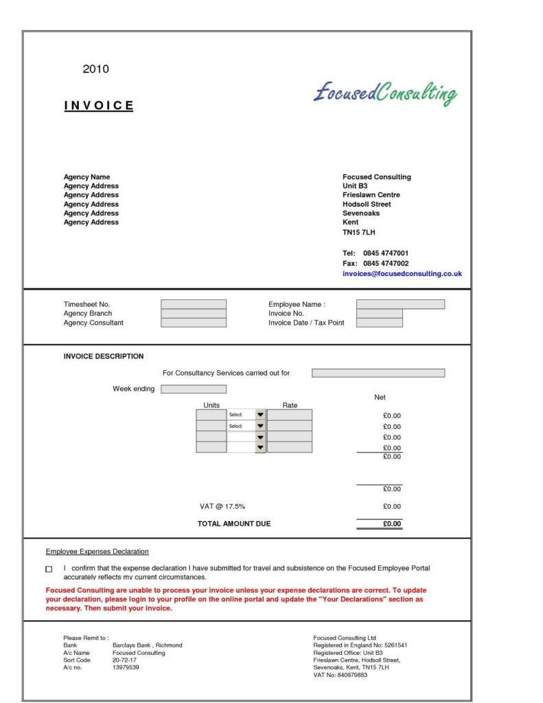 Free Sample Invoice Template For Services