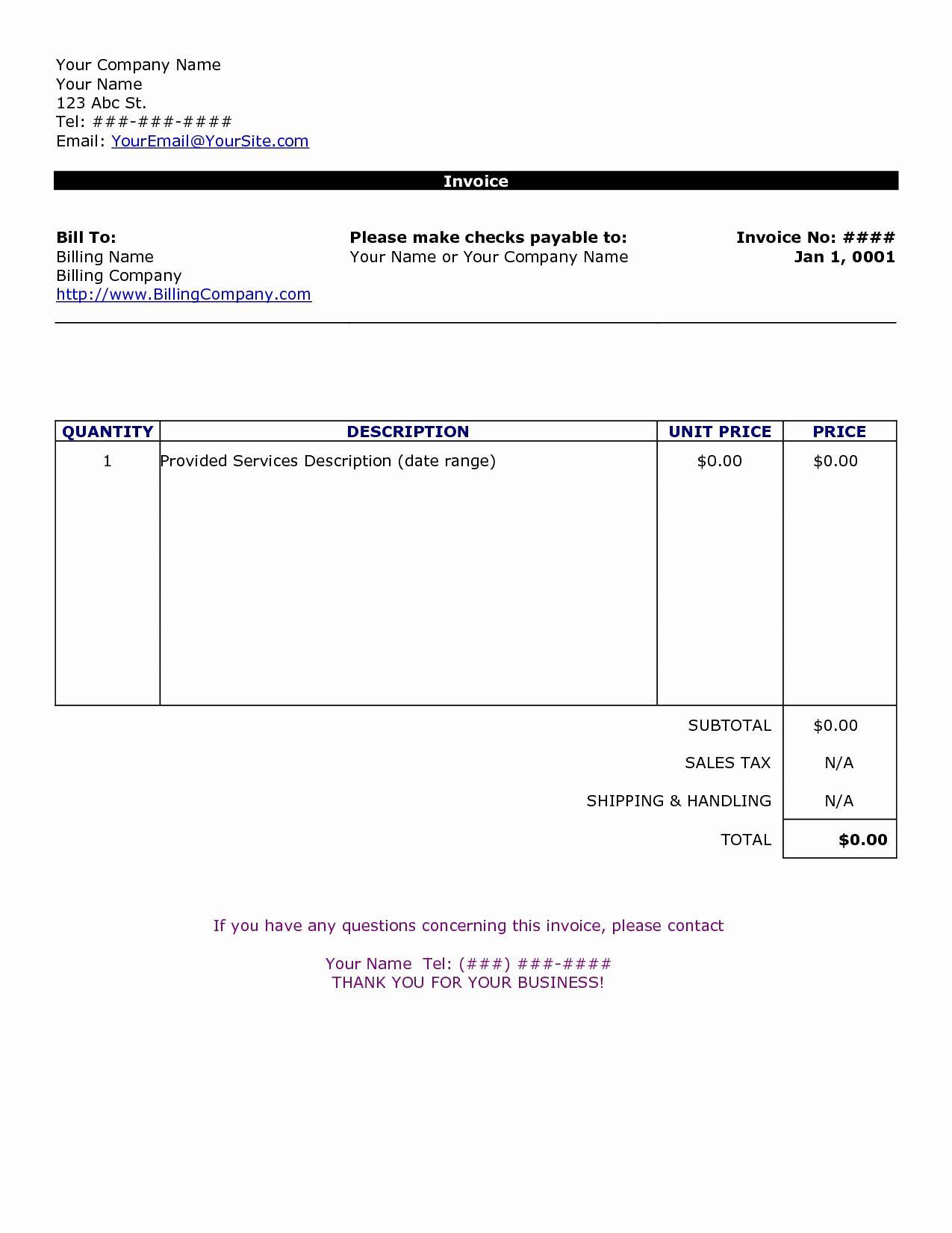 Free Sample Invoice Template