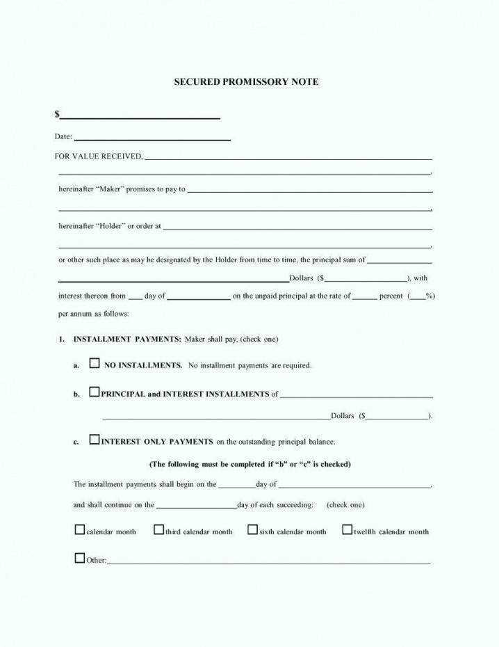 Free Sample Promissory Note Form Template