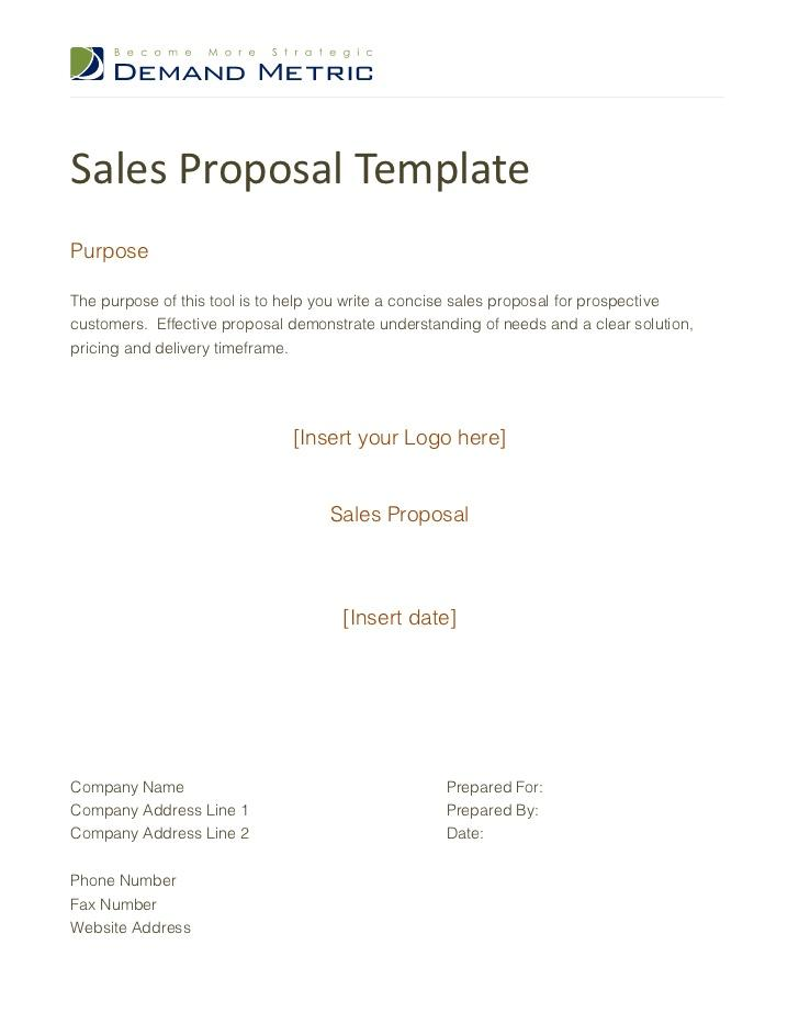 Free Sample Sales Proposal Template