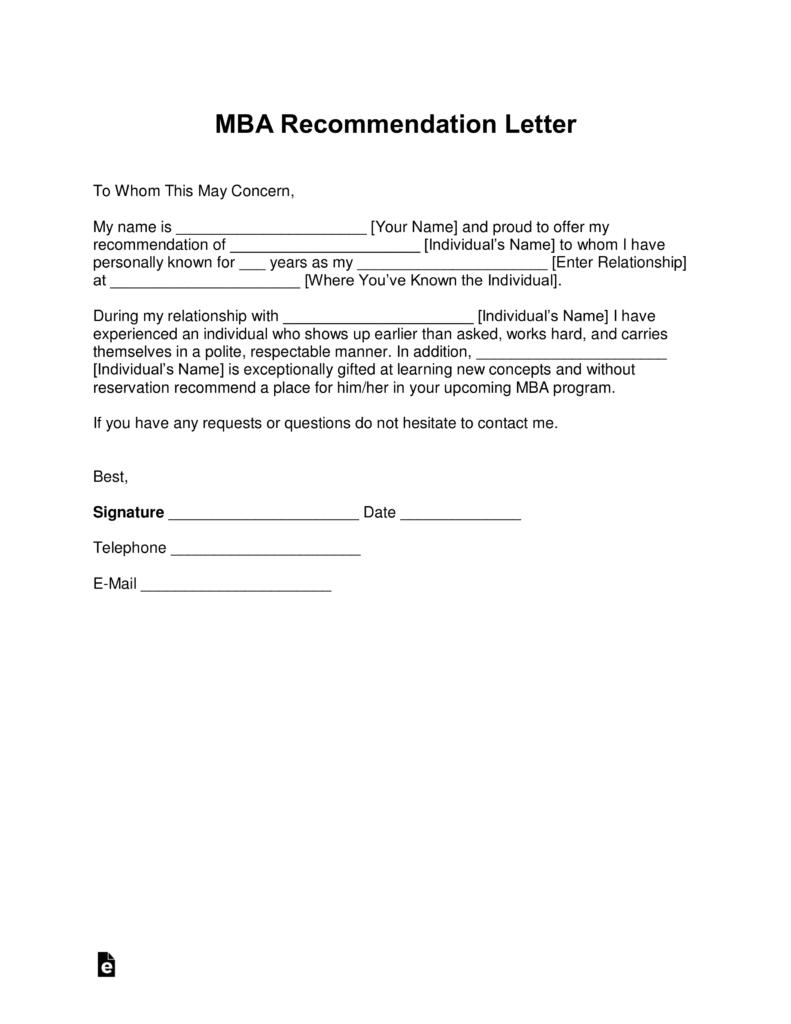 Free Scholarship Letter Of Recommendation Template