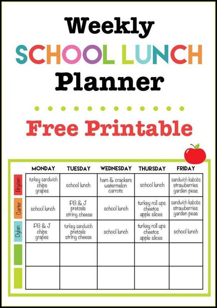 Free School Lunch Menu Templates