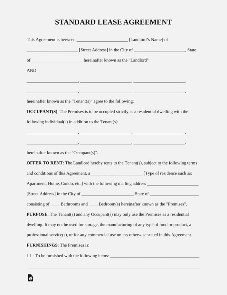 Free Short Term Lease Agreement Form