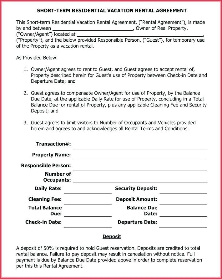 Free Short Term Vacation Rental Agreement Template
