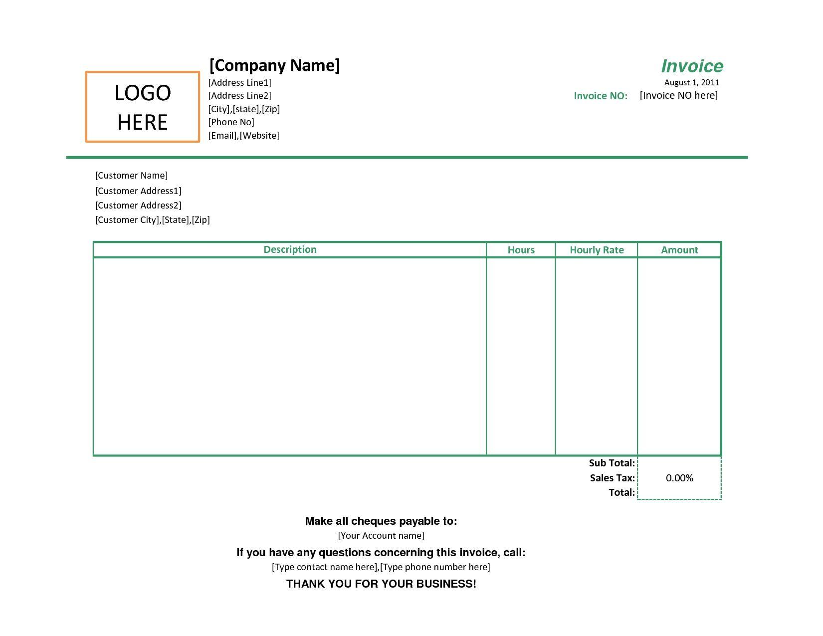 Free Simple Printable Invoice Template