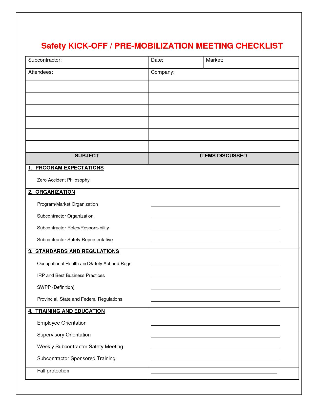 Free Site Safety Audit Checklist Template