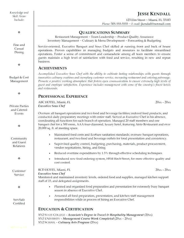 Free Sous Chef Resume Templates