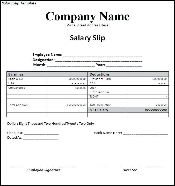 Free South African Salary Slip Template