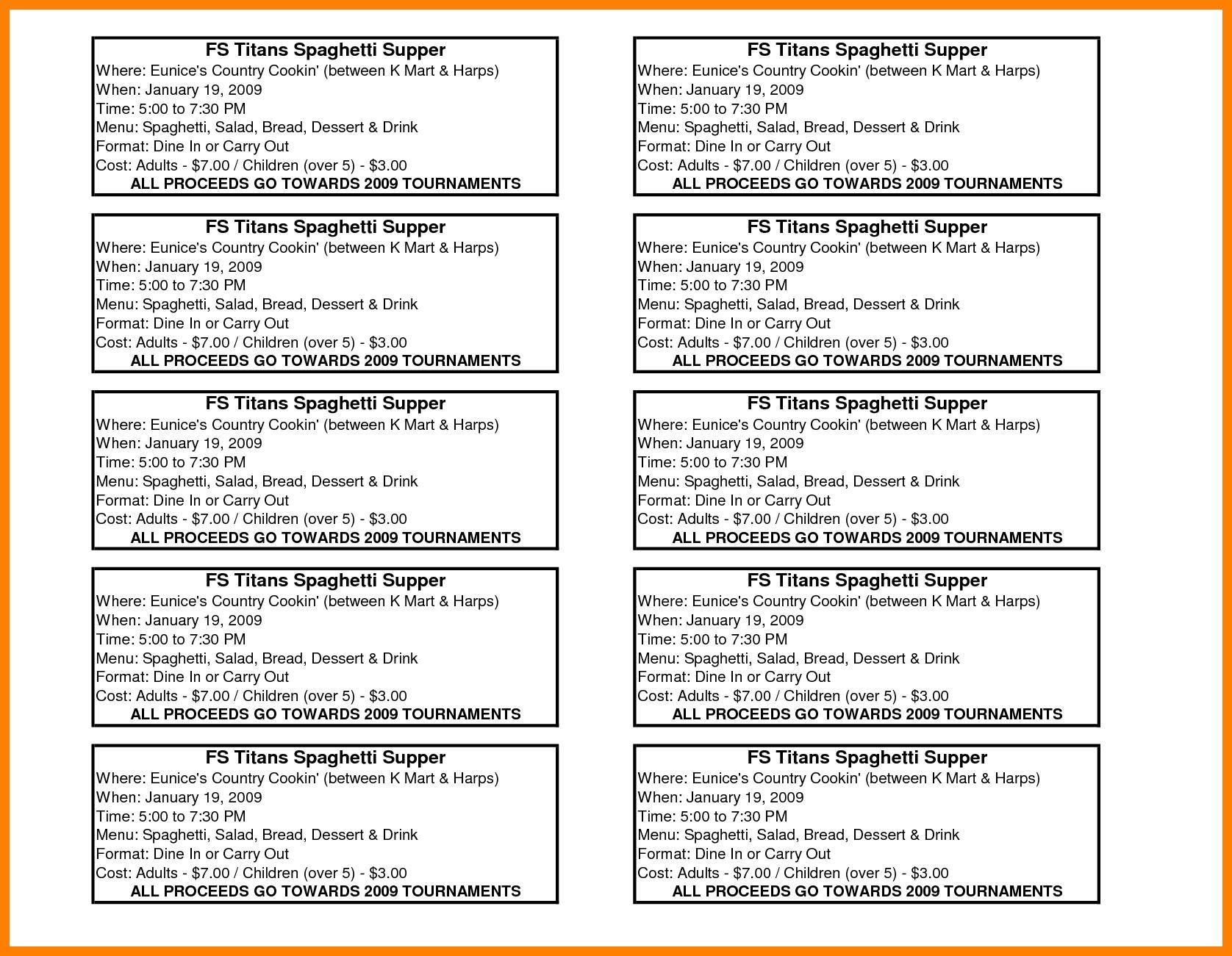 Free Spaghetti Dinner Ticket Template