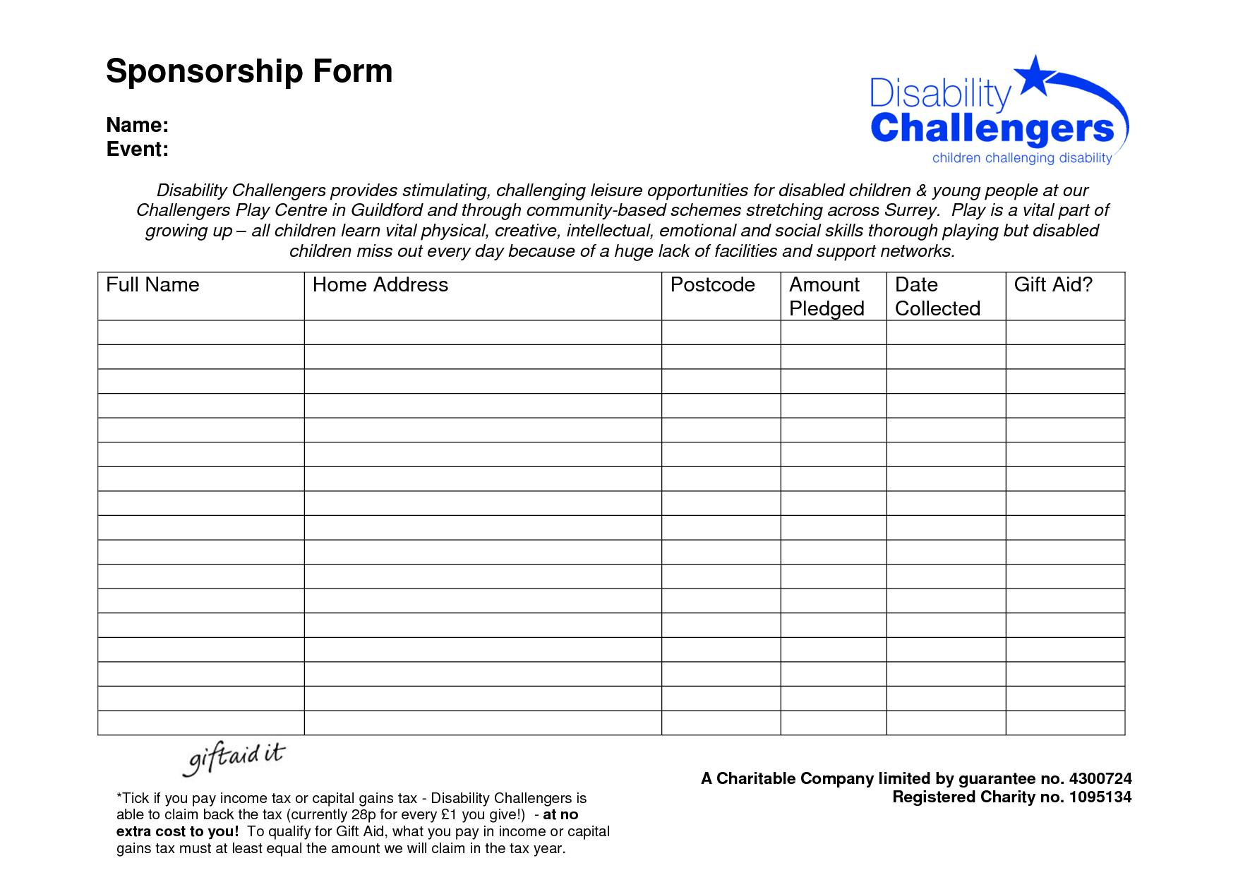 Free Sponsor Form Template